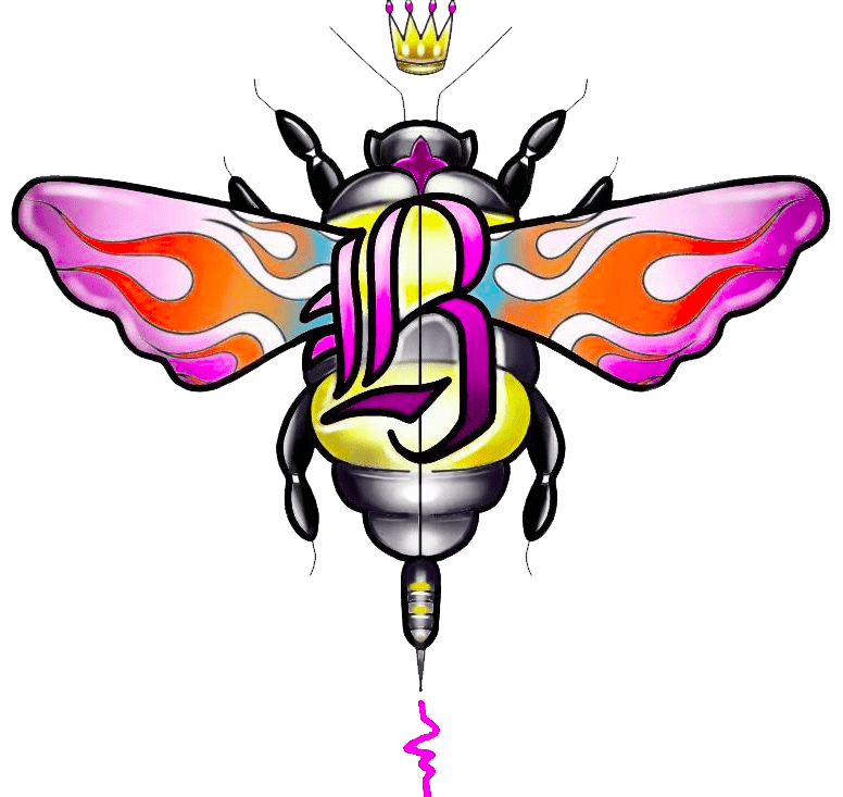 Flamin' B's Tattoo Studio Bee Logo